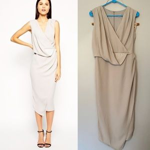 ASOS Grey Drape Wrap Midi Dress